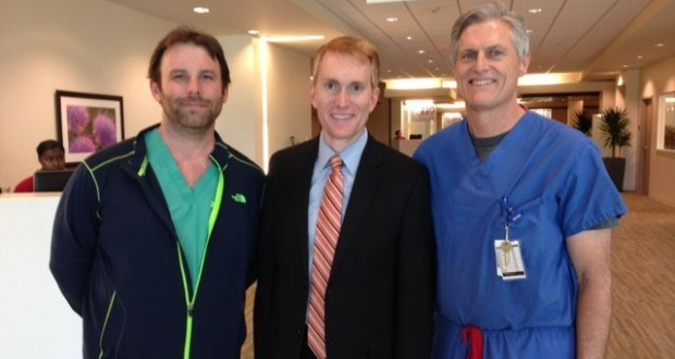 Adam Cotton, MD Congressman James Lankford and Jay Cunningham, DO